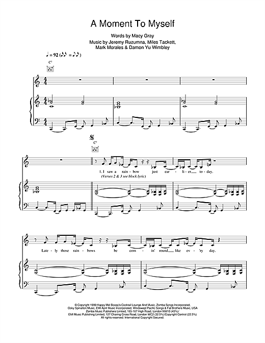 Macy Gray A Moment To Myself sheet music notes and chords