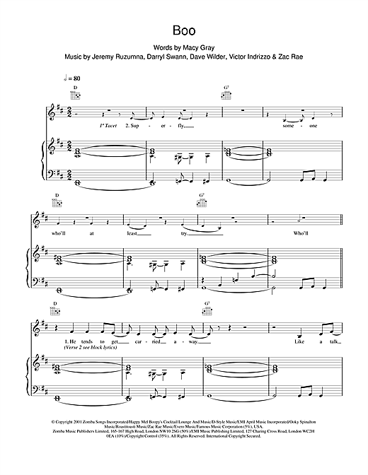 Macy Gray Boo sheet music notes and chords