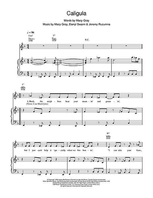 Macy Gray Caligula sheet music notes and chords