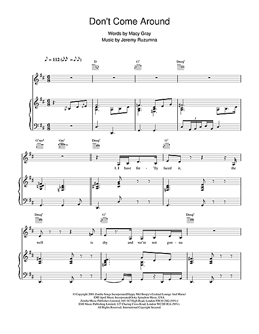 Macy Gray Don't Come Around sheet music notes and chords
