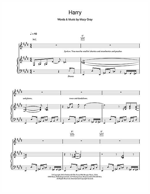 Macy Gray Harry sheet music notes and chords. Download Printable PDF.