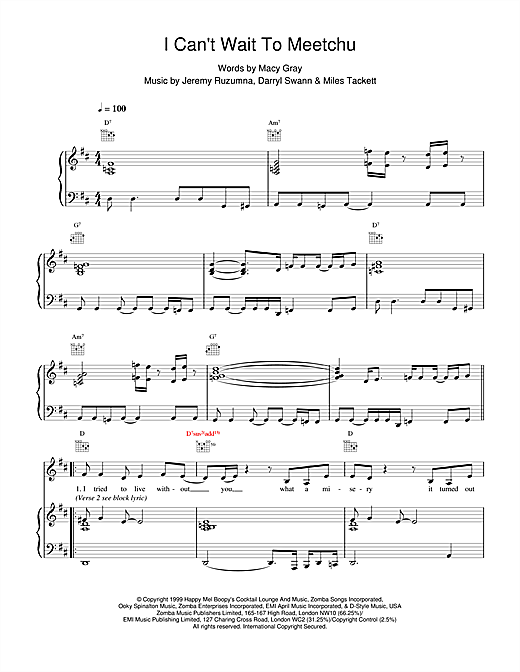 Macy Gray I Cant Wait To Meetchu sheet music notes and chords. Download Printable PDF.