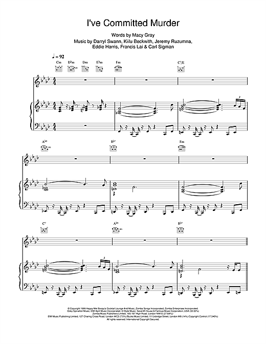 Macy Gray I've Committed Murder sheet music notes and chords