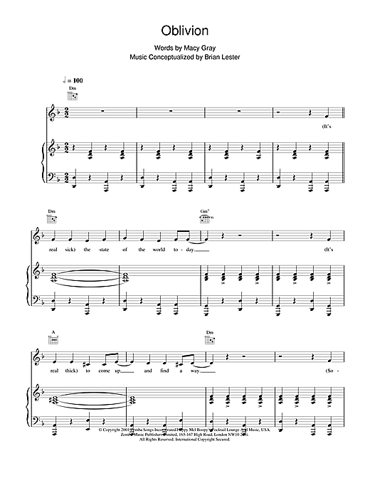 Macy Gray Oblivion sheet music notes and chords