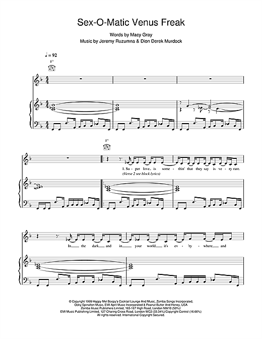 Macy Gray Sexomatic Venus Freak sheet music notes and chords. Download Printable PDF.