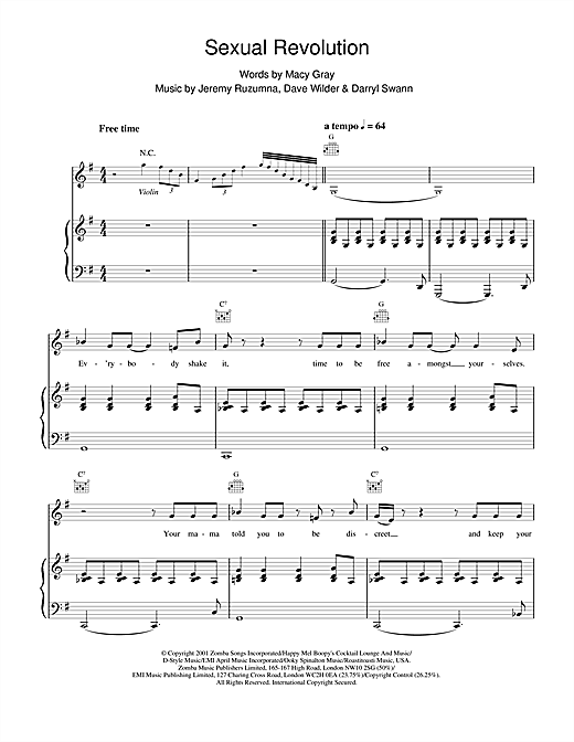 Macy Gray Sexual Revolution sheet music notes and chords. Download Printable PDF.