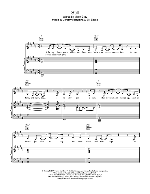 Macy Gray Still sheet music notes and chords. Download Printable PDF.