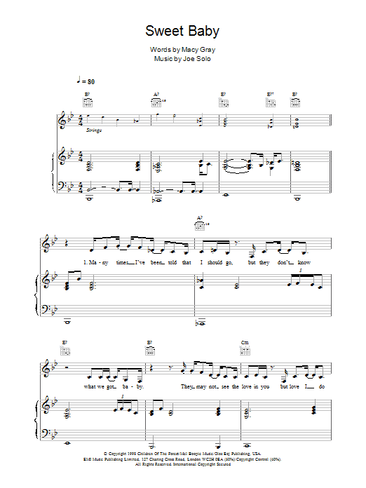 Macy Gray Sweet Baby sheet music notes and chords. Download Printable PDF.