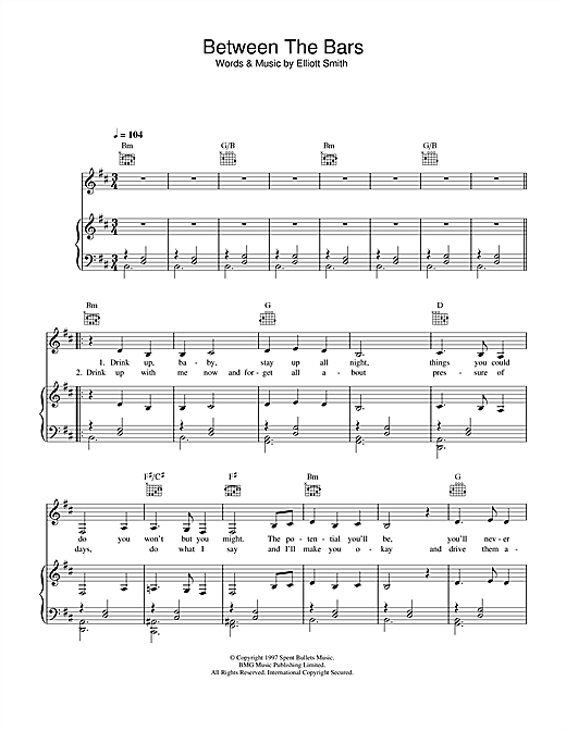 Madeleine Peyroux 'Between The Bars' Sheet Music Notes, Chords | Download  Printable Piano, Vocal & Guitar (Right-Hand Melody) - SKU: 33089