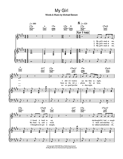Madness 'My Girl' Sheet Music Notes, Chords | Download Printable Piano,  Vocal & Guitar - SKU: 38895