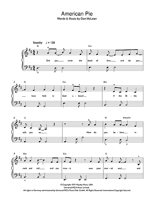 Madonna American Pie sheet music notes and chords. Download Printable PDF.