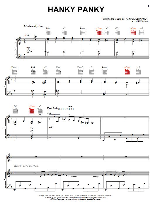 Madonna Hanky Panky sheet music notes and chords