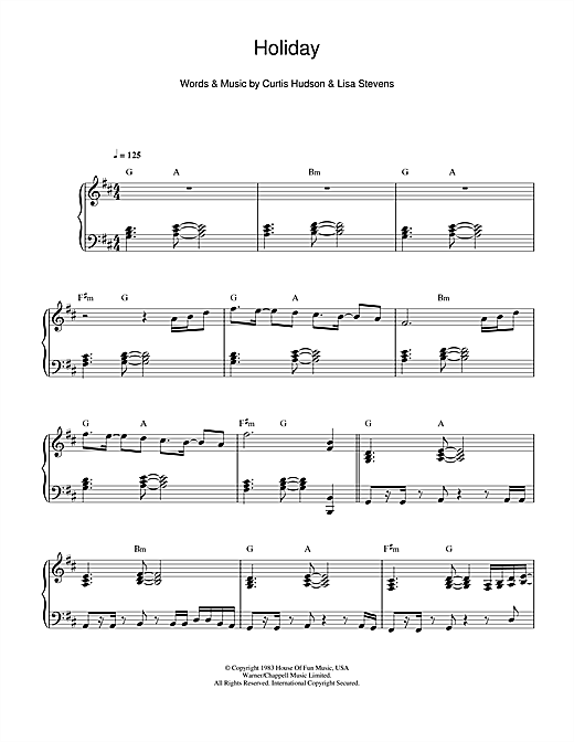 Madonna Holiday sheet music notes and chords