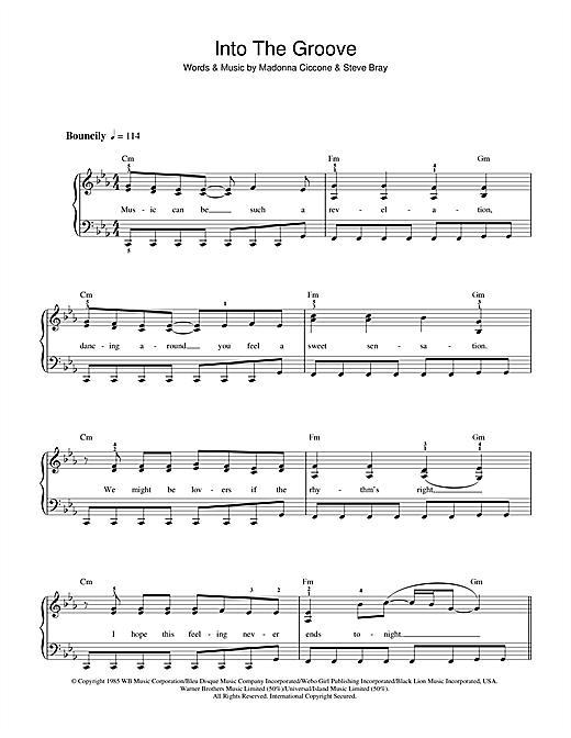 Madonna Into The Groove sheet music notes and chords. Download Printable PDF.
