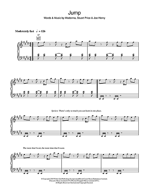 Madonna Jump sheet music notes and chords. Download Printable PDF.