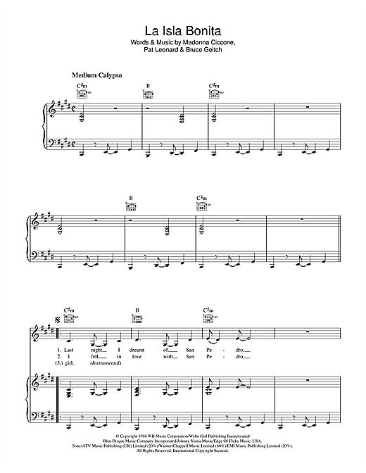 Madonna La Isla Bonita sheet music notes and chords. Download Printable PDF.