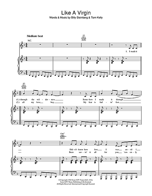 Madonna Like A Virgin sheet music notes and chords