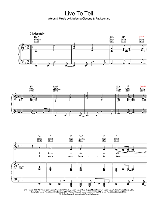 Madonna Live To Tell sheet music notes and chords. Download Printable PDF.