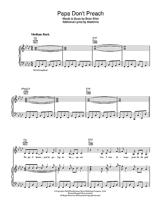 Madonna Papa Don't Preach sheet music notes and chords