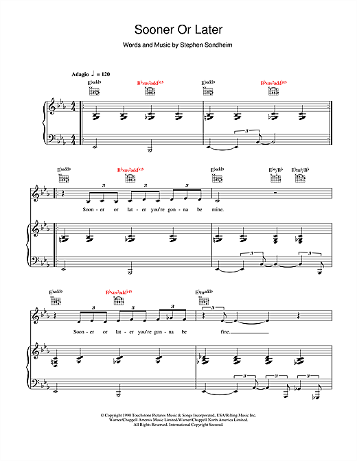 Madonna Sooner Or Later sheet music notes and chords. Download Printable PDF.