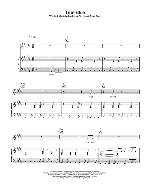 Madonna True Blue sheet music notes and chords. Download Printable PDF.
