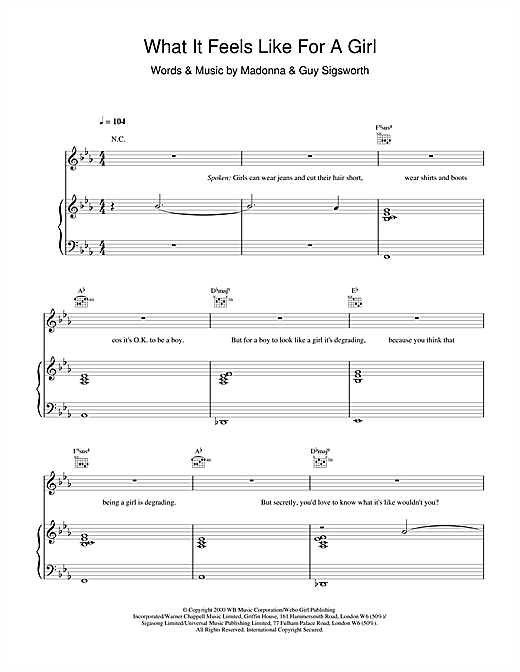 Madonna What It Feels Like For A Girl sheet music notes and chords. Download Printable PDF.