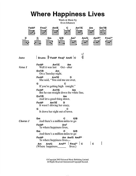 Magnet Where Happiness Lives sheet music notes and chords. Download Printable PDF.
