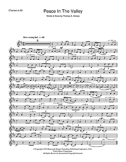 Mahalia Jackson (There'll Be) Peace In The Valley (For Me) sheet music notes and chords