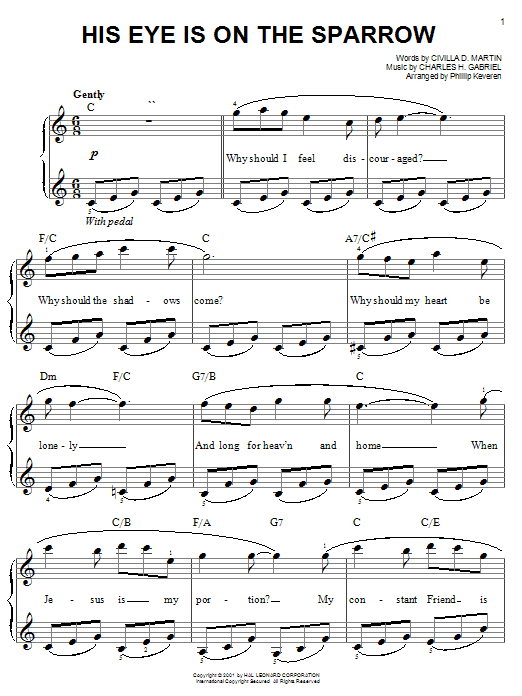 Mahalia Jackson His Eye Is On The Sparrow sheet music notes and chords. Download Printable PDF.