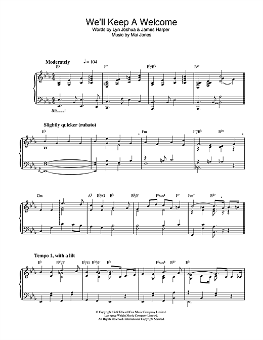 Mai Jones We'll Keep A Welcome sheet music notes and chords. Download Printable PDF.