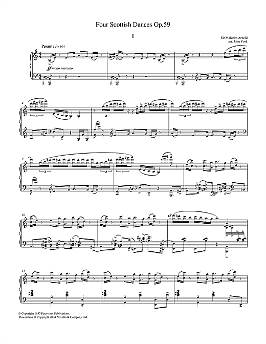 Malcolm Arnold Four Scottish Dances Op.59, No.1, Pesante sheet music notes and chords. Download Printable PDF.