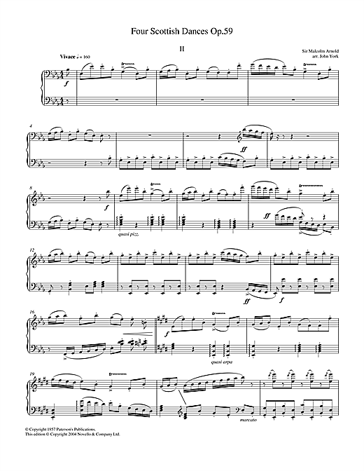 Malcolm Arnold Four Scottish Dances Op.59, No.2, Vivace sheet music notes and chords. Download Printable PDF.