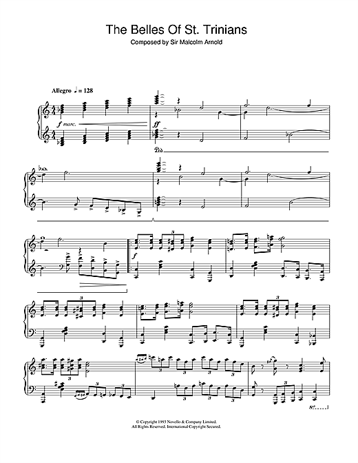 Malcolm Arnold The Belles Of St. Trinians sheet music notes and chords. Download Printable PDF.