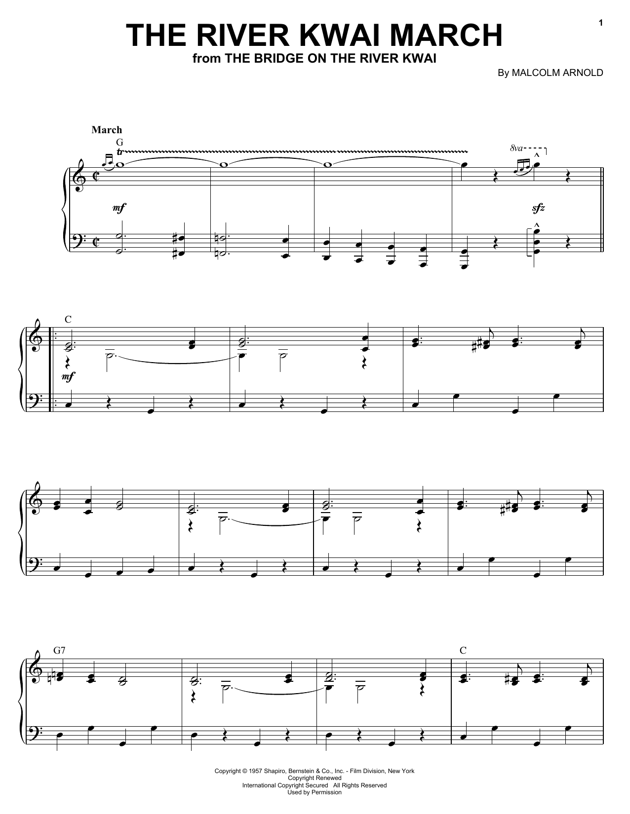 Malcolm Arnold The River Kwai March sheet music notes and chords. Download Printable PDF.