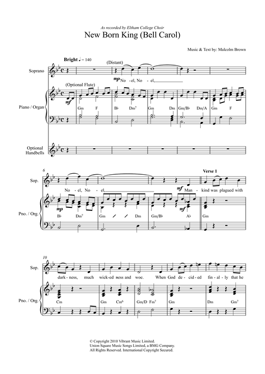 Malcolm Brown New Born King (Bell Carol) sheet music notes and chords. Download Printable PDF.