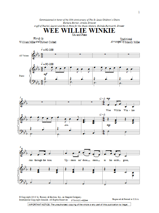 Mandy Miller Wee Willie Winkie sheet music notes and chords. Download Printable PDF.