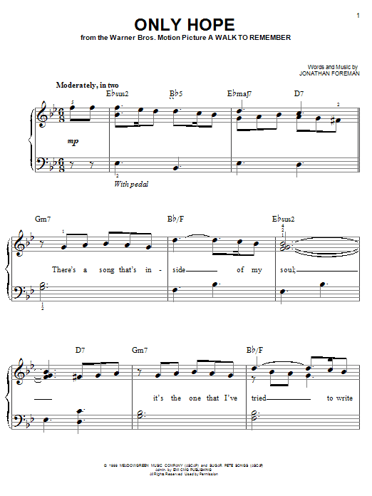Mandy Moore Only Hope sheet music notes and chords. Download Printable PDF.