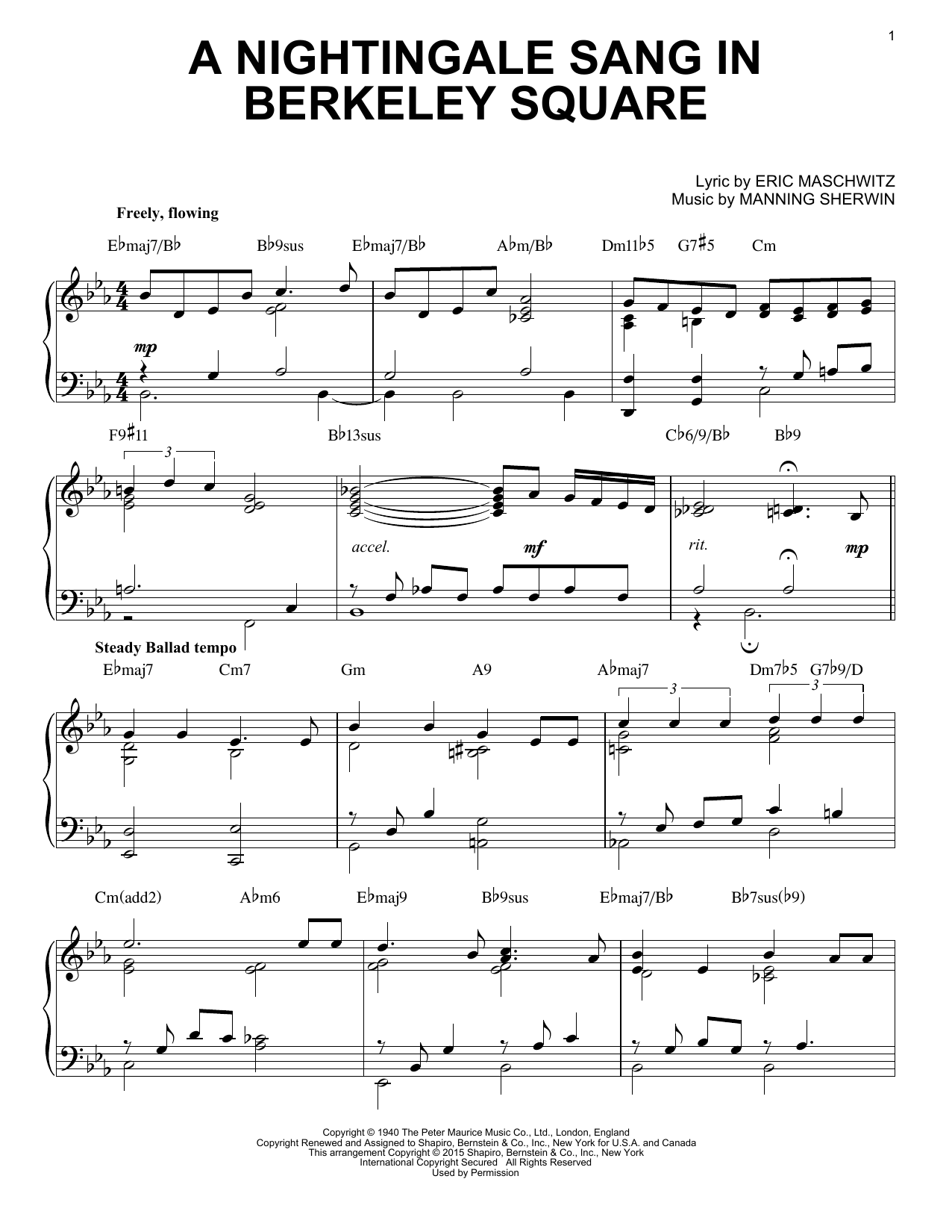 Manhattan Transfer A Nightingale Sang In Berkeley Square [Jazz version] (arr. Brent Edstrom) sheet music notes and chords