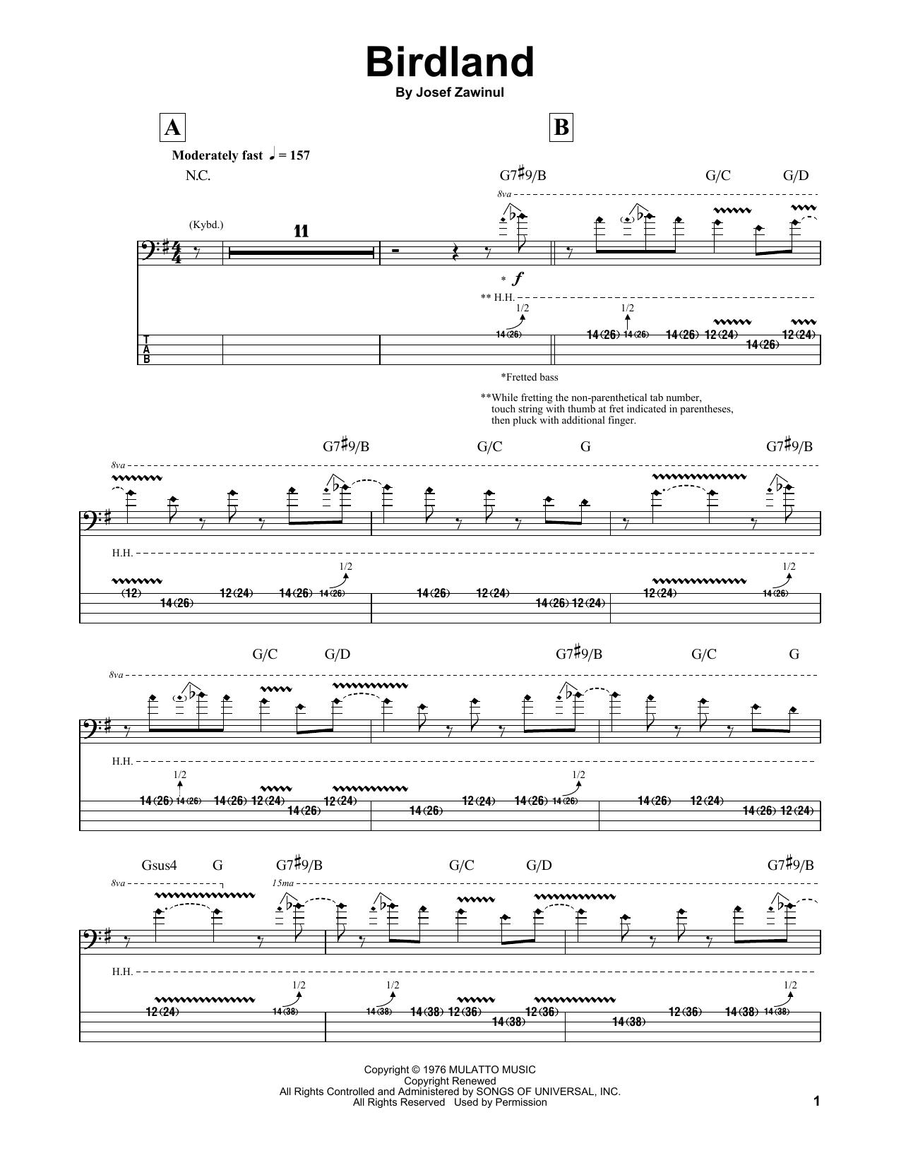 The Manhattan Transfer Birdland sheet music notes and chords. Download Printable PDF.