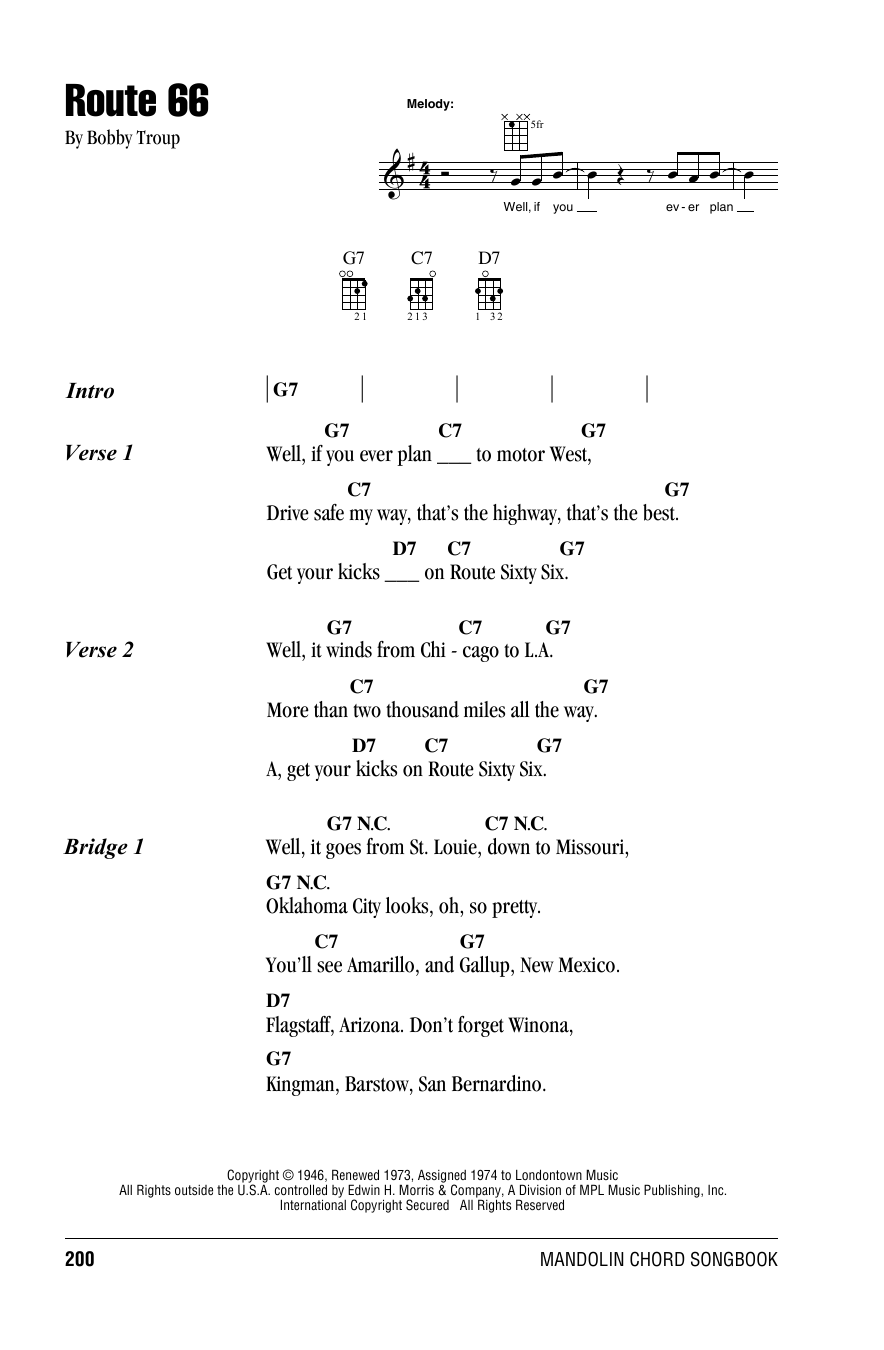 Manhattan Transfer Route 66 sheet music notes and chords