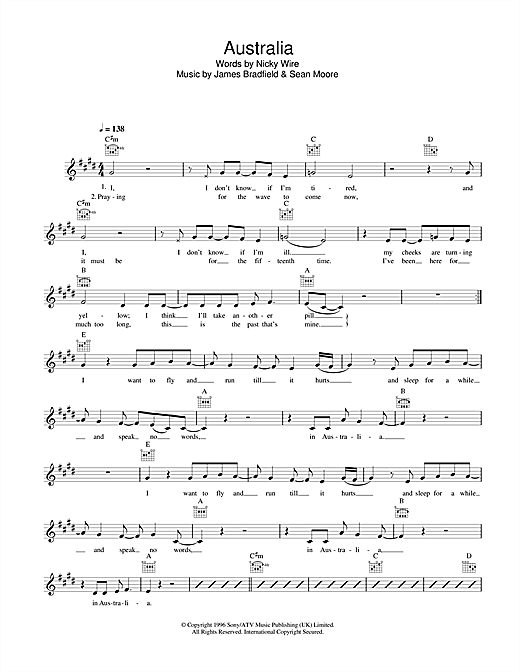 Manic Street Preachers Australia sheet music notes and chords. Download Printable PDF.