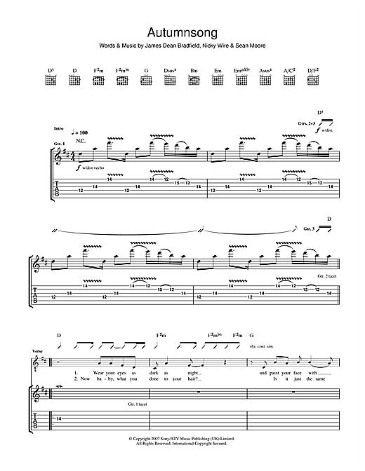 Manic Street Preachers Autumnsong Sheet Music Pdf Notes Chords Rock Score Guitar Chords Lyrics Download Printable Sku 49114