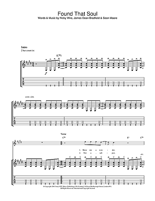 Manic Street Preachers Found That Soul sheet music notes and chords. Download Printable PDF.