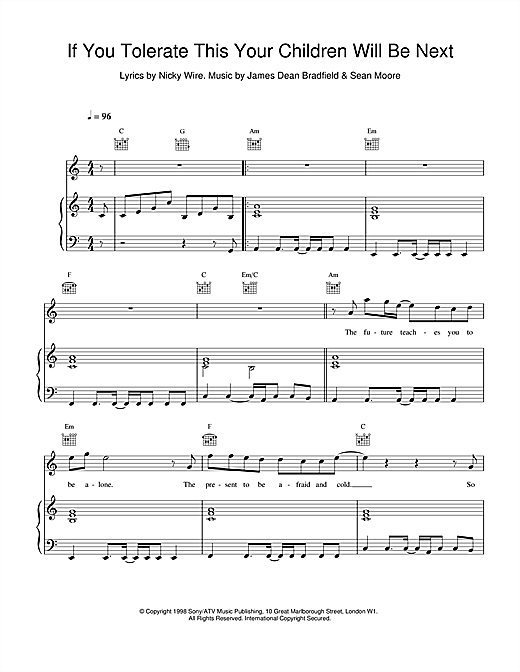 Manic Street Preachers If You Tolerate This Your Children Will Be Next sheet music notes and chords. Download Printable PDF.