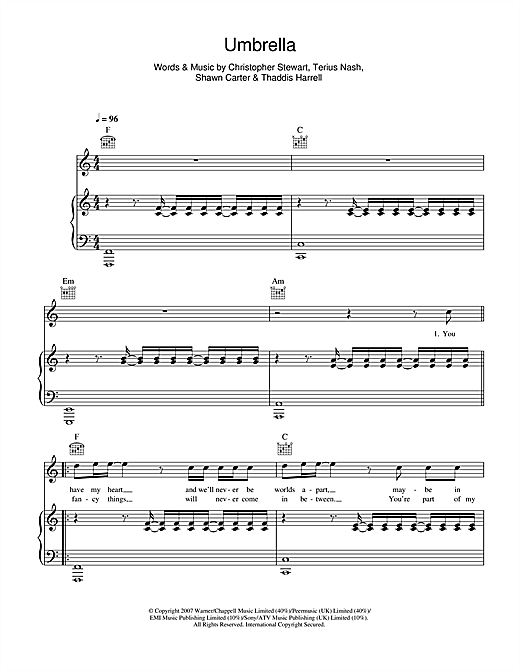 Manic Street Preachers Umbrella sheet music notes and chords. Download Printable PDF.