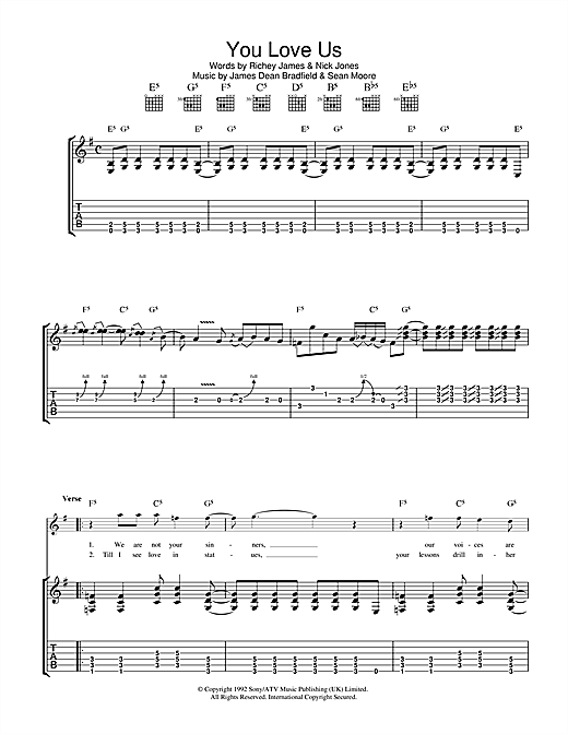 Manic Street Preachers You Love Us sheet music notes and chords. Download Printable PDF.