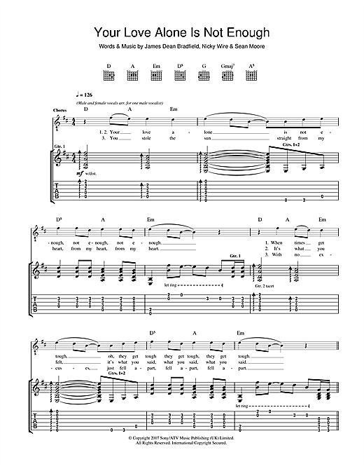 Manic Street Preachers Your Love Alone Is Not Enough sheet music notes and chords