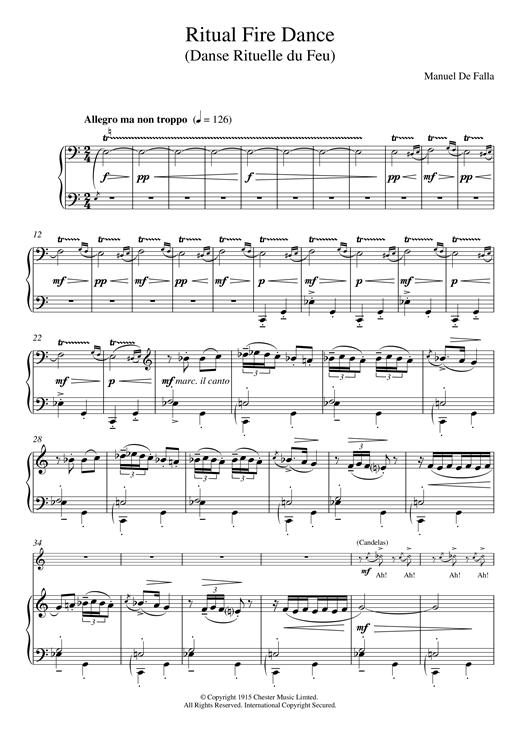 Manuel De Falla Ritual Fire Dance sheet music notes and chords