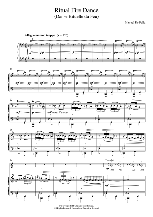 Manuel De Falla Ritual Fire Dance sheet music notes and chords. Download Printable PDF.