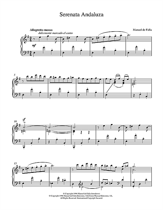 Manuel De Falla Serenata Andaluza sheet music notes and chords